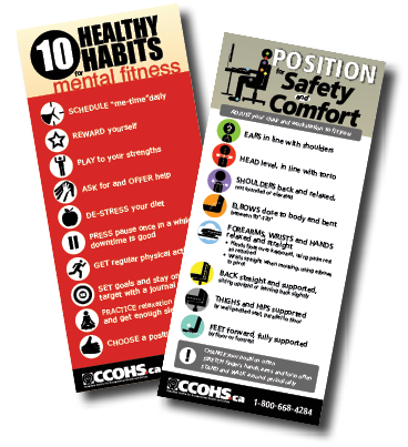 Posters collage: 10 Healthy Habits (mental fitness) and Position for Safety and Comfort