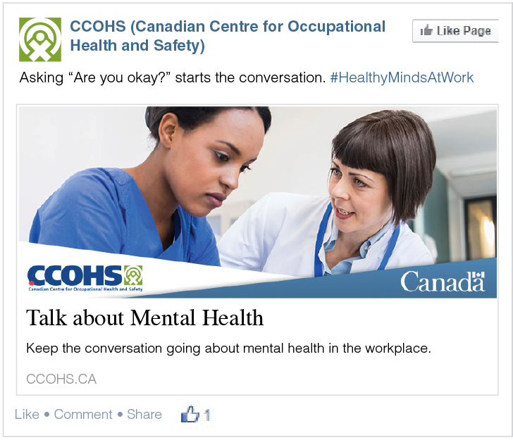 A screenshot from CCOHS page on Facebook titled Talk about Mental Health