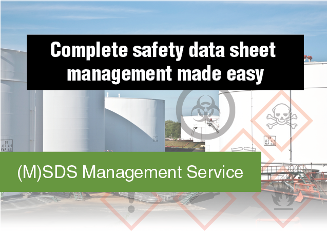 MSDS Management Service collage: Complete safety data sheet management made easy.