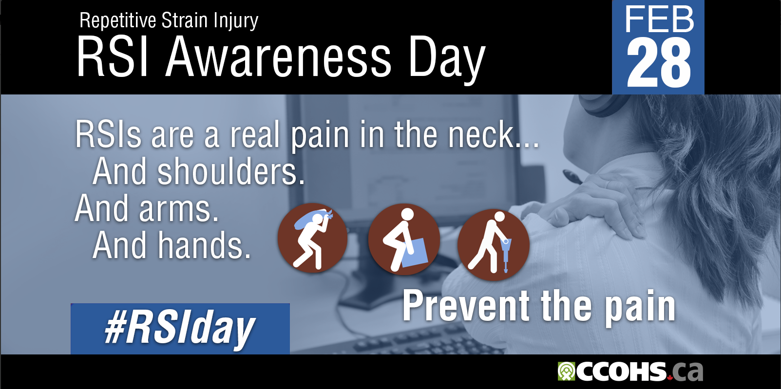 February 28 is Repetitive Strain Injury - RSI Awareness Day. RSIs are a real pain in the neck...And shoulders.