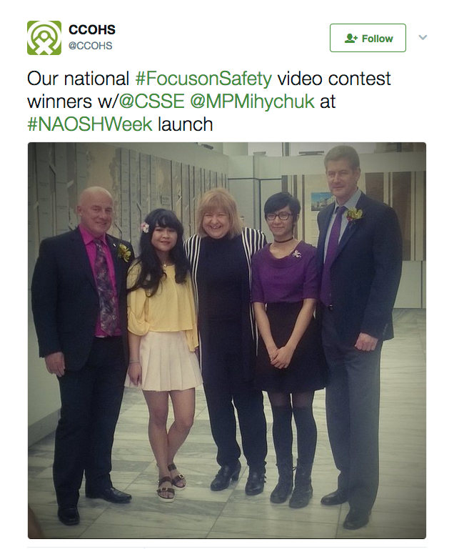 Photo from NAOSH Week launch @CSSE with our national #FocusSafety video contest winners, CCOHS President and CEO Garett Jones and MP AnnMary Mihychuk