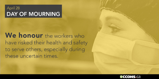 Day of Mourning postcard with worker wearing a mask