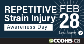 A dark blue rectangular badge for a website that says Repetitive Strain Injury Awareness Day, February 28, and Learn More.