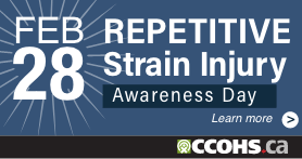 A bright blue rectangular badge for a website that says Repetitive Strain Injury Awareness Day, February 28, and Learn More.