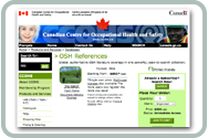 OSH References database's product webpage