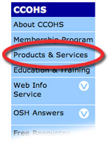 Screenshot of the CCOHS web site's sidebar.