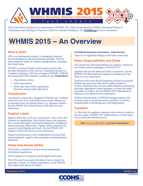 Whmis 2015 Fact Sheets