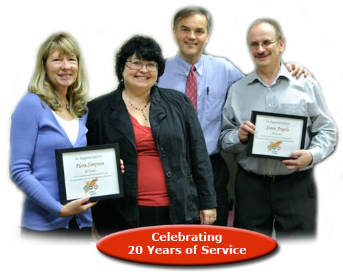 Picture of CCOHS employees recognized for 20 years of service to United Way