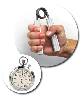 Grip exerciser and stopwatch